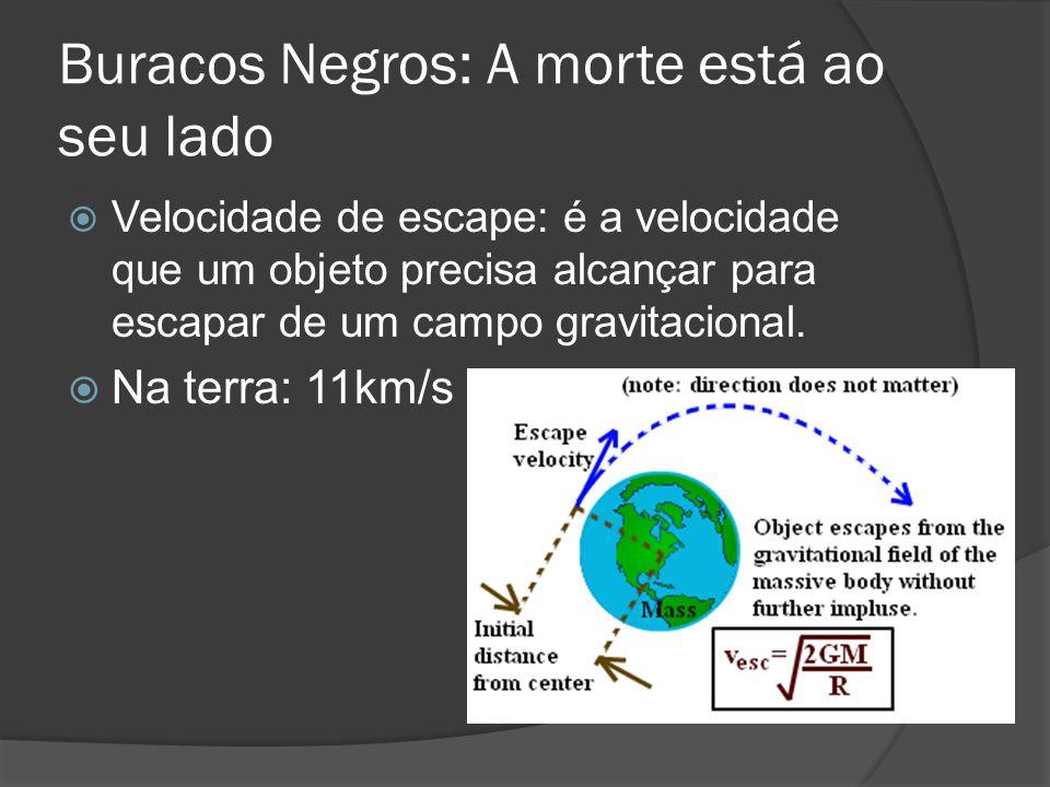 Buracos Negros: A morte está ao seu lado  Velocidade de escape: é a velocidade que um objeto precisa alcançar para escapar de um campo gravitacional.