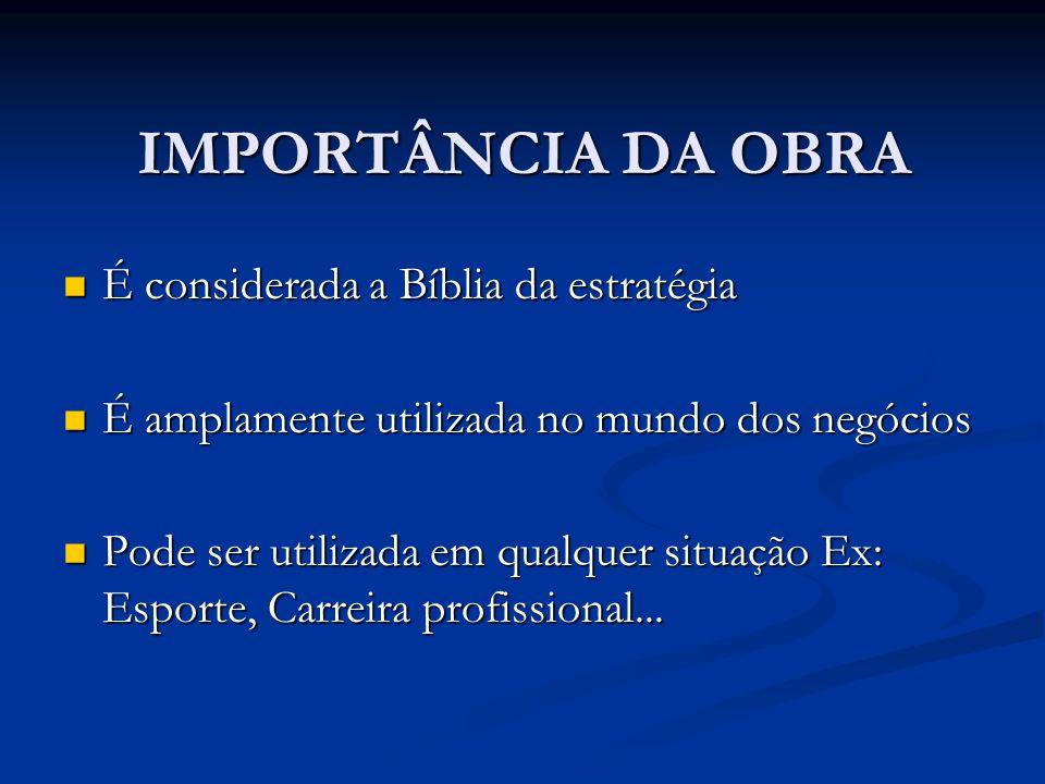 IMPORTÂNCIA DA OBRA É considerada a Bíblia da estratégia É considerada a Bíblia da estratégia É amplamente utilizada no mundo dos negócios É amplament