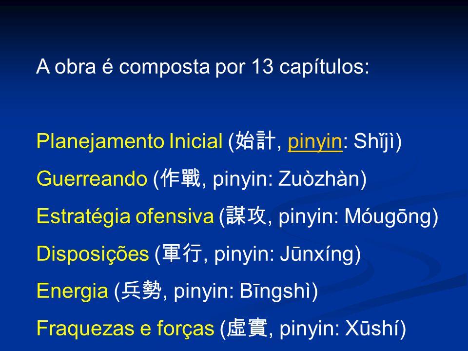A obra é composta por 13 capítulos: Planejamento Inicial ( 始計, pinyin: Shǐjì)pinyin Guerreando ( 作戰, pinyin: Zuòzhàn) Estratégia ofensiva ( 謀攻, pinyin