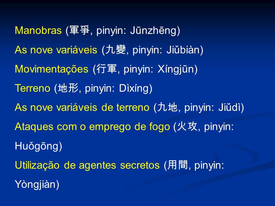 Manobras ( 軍爭, pinyin: Jūnzhēng) As nove variáveis ( 九變, pinyin: Jiǔbiàn) Movimentações ( 行軍, pinyin: Xíngjūn) Terreno ( 地形, pinyin: Dìxíng) As nove v