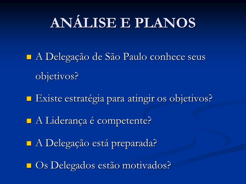 ANÁLISE E PLANOS A Delegação de São Paulo conhece seus objetivos? A Delegação de São Paulo conhece seus objetivos? Existe estratégia para atingir os o