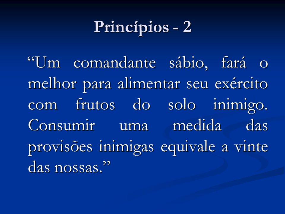 """Princípios - 2 """"Um comandante sábio, fará o melhor para alimentar seu exército com frutos do solo inimigo. Consumir uma medida das provisões inimigas"""