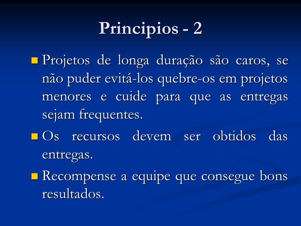 Principios - 2 Projetos de longa duração são caros, se não puder evitá-los quebre-os em projetos menores e cuide para que as entregas sejam frequentes