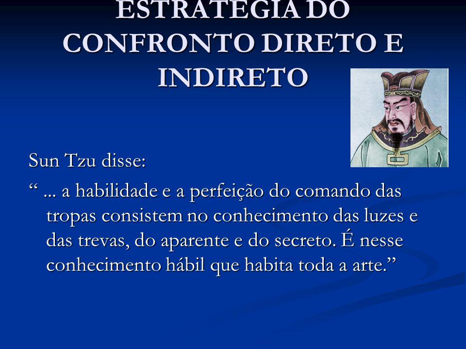 """ESTRATÉGIA DO CONFRONTO DIRETO E INDIRETO Sun Tzu disse: """"... a habilidade e a perfeição do comando das tropas consistem no conhecimento das luzes e d"""