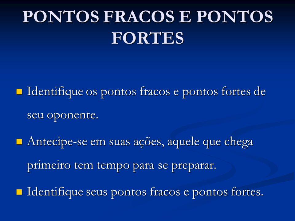 PONTOS FRACOS E PONTOS FORTES Identifique os pontos fracos e pontos fortes de seu oponente. Identifique os pontos fracos e pontos fortes de seu oponen