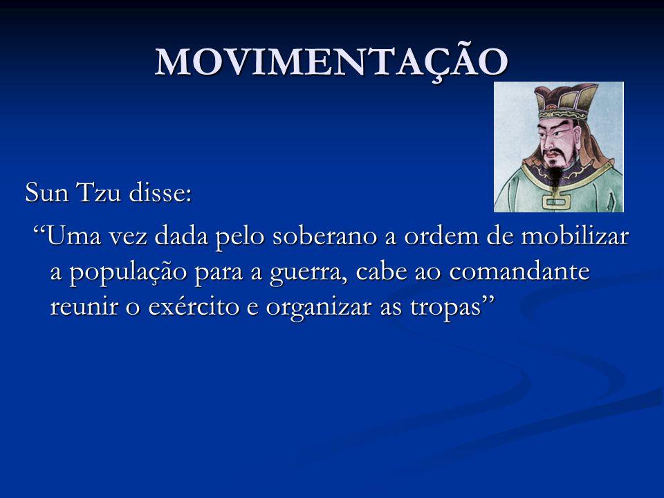 """MOVIMENTAÇÃO Sun Tzu disse: """"Uma vez dada pelo soberano a ordem de mobilizar a população para a guerra, cabe ao comandante reunir o exército e organiz"""