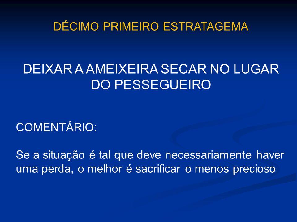 DÉCIMO PRIMEIRO ESTRATAGEMA DEIXAR A AMEIXEIRA SECAR NO LUGAR DO PESSEGUEIRO COMENTÁRIO: Se a situação é tal que deve necessariamente haver uma perda,