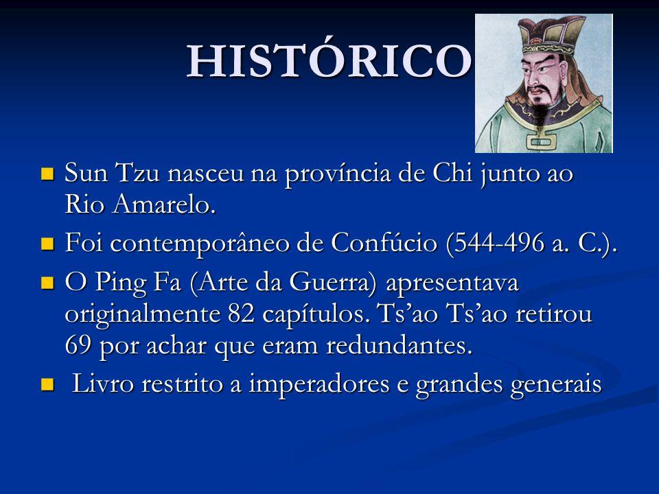 HISTÓRICO Sun Tzu nasceu na província de Chi junto ao Rio Amarelo. Sun Tzu nasceu na província de Chi junto ao Rio Amarelo. Foi contemporâneo de Confú