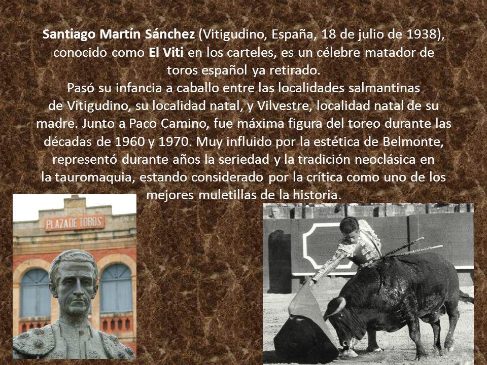 Santiago Martín Sánchez (Vitigudino, España, 18 de julio de 1938), conocido como El Viti en los carteles, es un célebre matador de toros español ya re