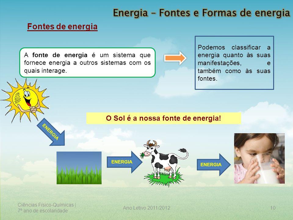 Ciências Físico-Químicas | 7º ano de escolaridade 10Ano Letivo 2011/2012 Fontes de energia A fonte de energia é um sistema que fornece energia a outro