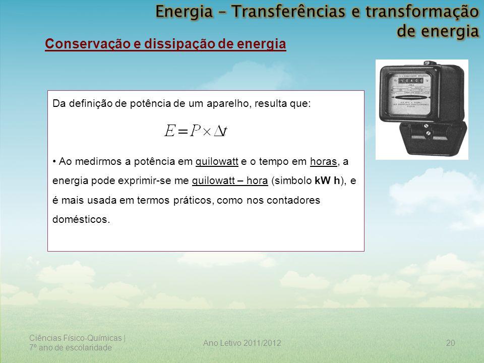 Ciências Físico-Químicas | 7º ano de escolaridade 20Ano Letivo 2011/2012 Conservação e dissipação de energia Da definição de potência de um aparelho,