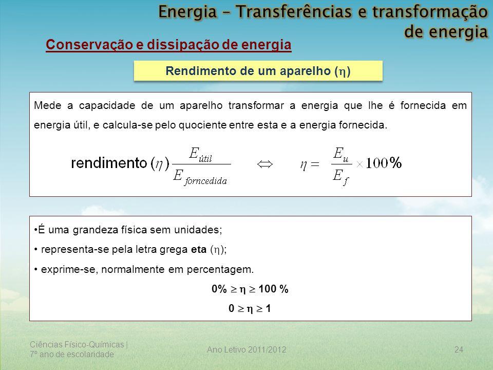 Ciências Físico-Químicas | 7º ano de escolaridade 24Ano Letivo 2011/2012 Conservação e dissipação de energia Rendimento de um aparelho (  ) Mede a ca