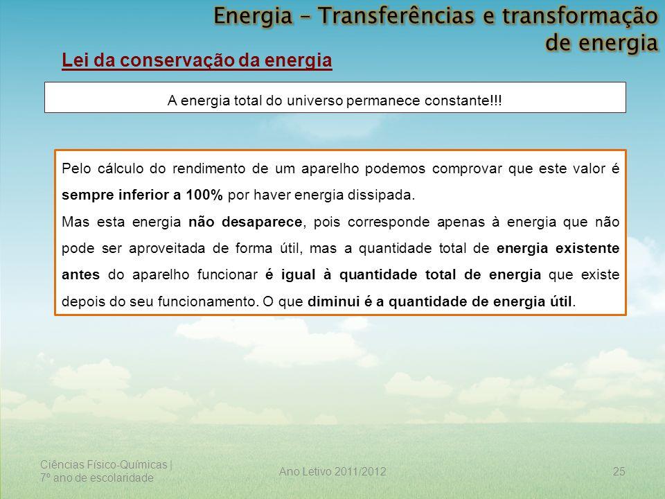 Ciências Físico-Químicas | 7º ano de escolaridade 25Ano Letivo 2011/2012 Lei da conservação da energia A energia total do universo permanece constante