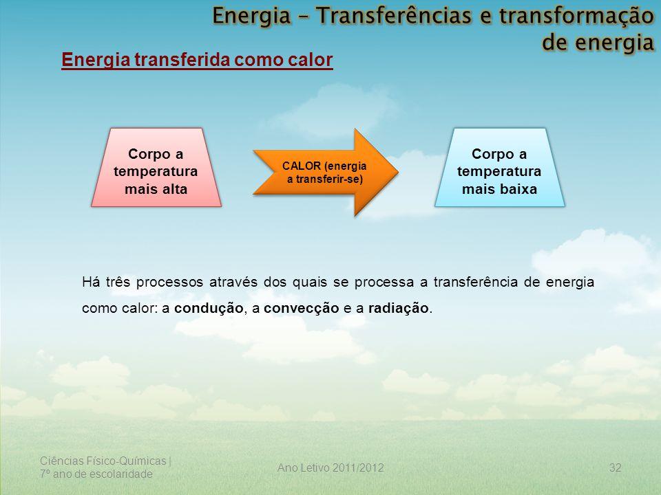 Ciências Físico-Químicas | 7º ano de escolaridade 32Ano Letivo 2011/2012 Energia transferida como calor Corpo a temperatura mais alta Corpo a temperat