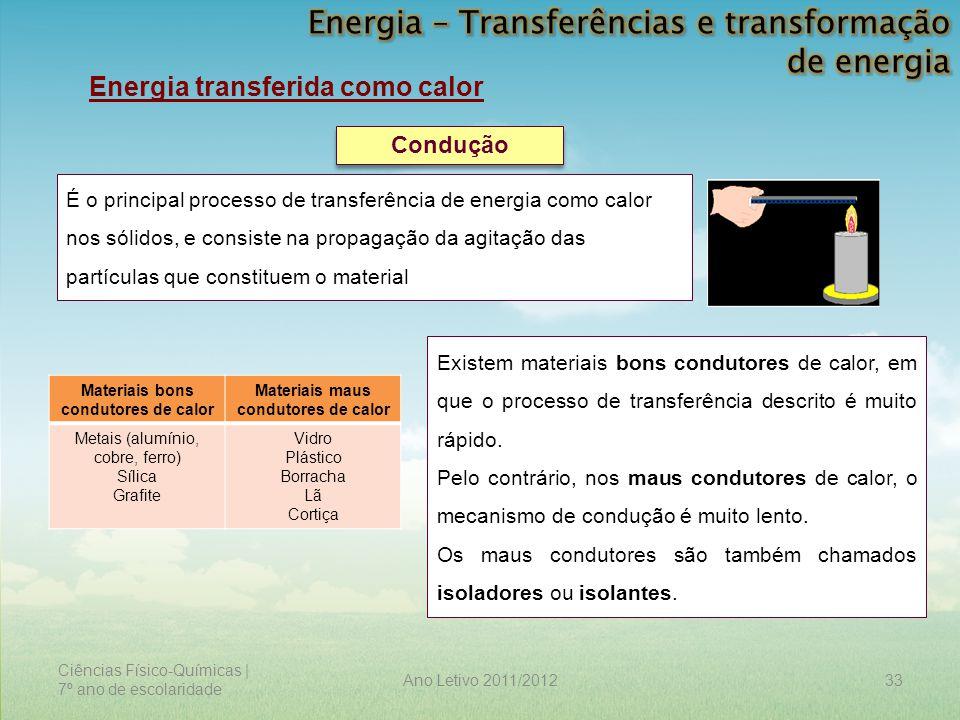 Ciências Físico-Químicas | 7º ano de escolaridade 33Ano Letivo 2011/2012 Energia transferida como calor Condução É o principal processo de transferênc