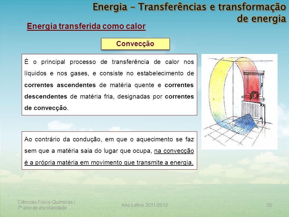 Ciências Físico-Químicas | 7º ano de escolaridade 35Ano Letivo 2011/2012 Energia transferida como calor Convecção É o principal processo de transferên