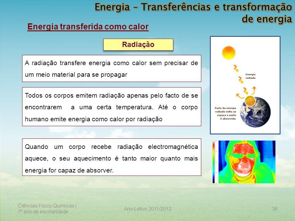 Ciências Físico-Químicas | 7º ano de escolaridade 36Ano Letivo 2011/2012 Energia transferida como calor Radiação A radiação transfere energia como cal