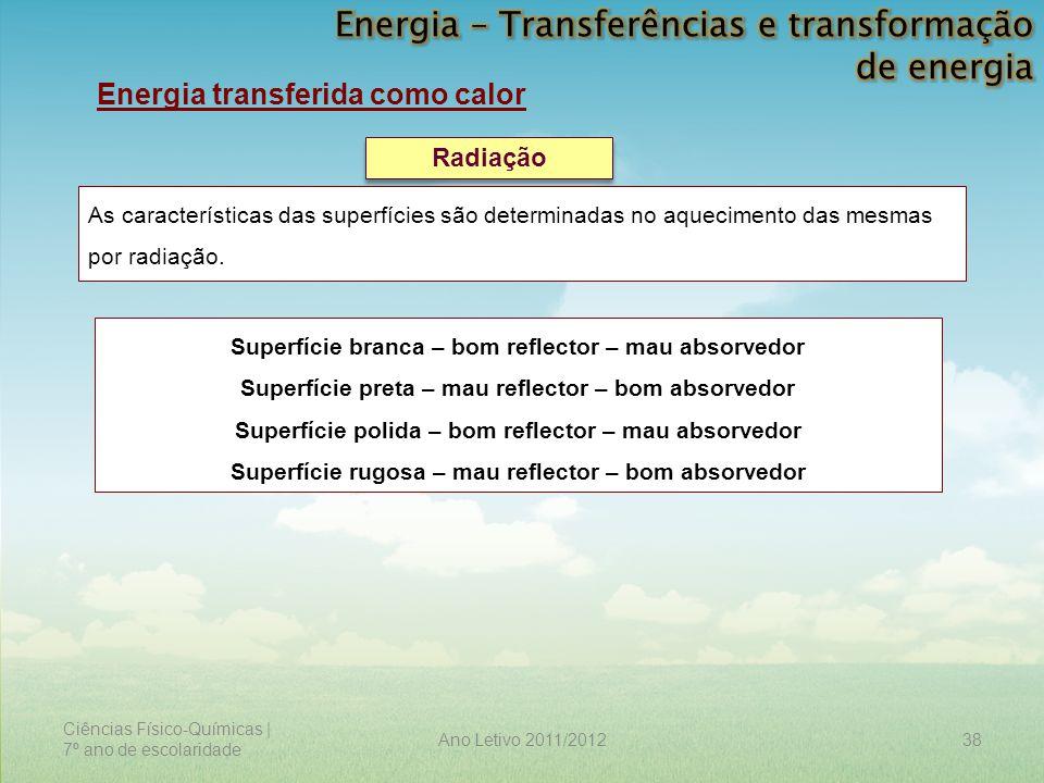 Ciências Físico-Químicas | 7º ano de escolaridade 38Ano Letivo 2011/2012 Energia transferida como calor Radiação As características das superfícies sã