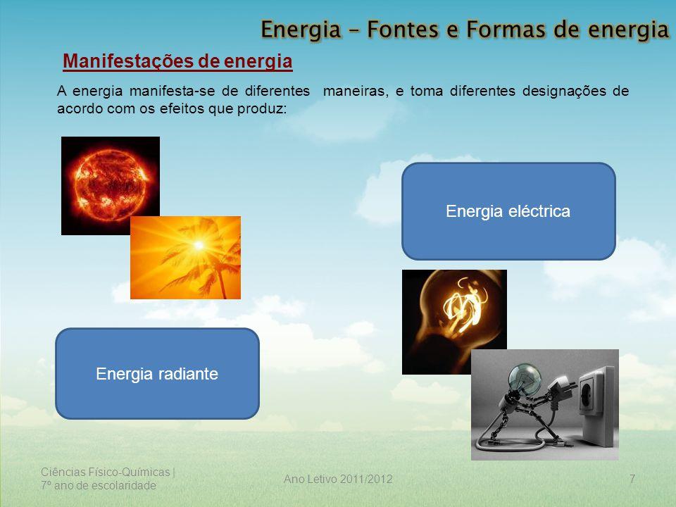 Ciências Físico-Químicas | 7º ano de escolaridade 7Ano Letivo 2011/2012 Manifestações de energia A energia manifesta-se de diferentes maneiras, e toma
