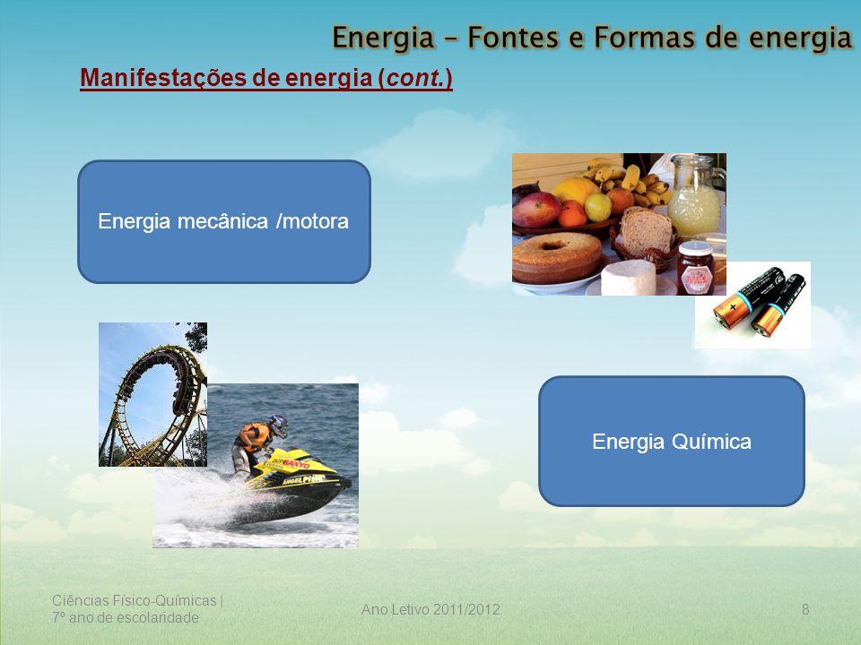 Ciências Físico-Químicas | 7º ano de escolaridade 8Ano Letivo 2011/2012 Manifestações de energia (cont.) Energia mecânica /motora Energia Química