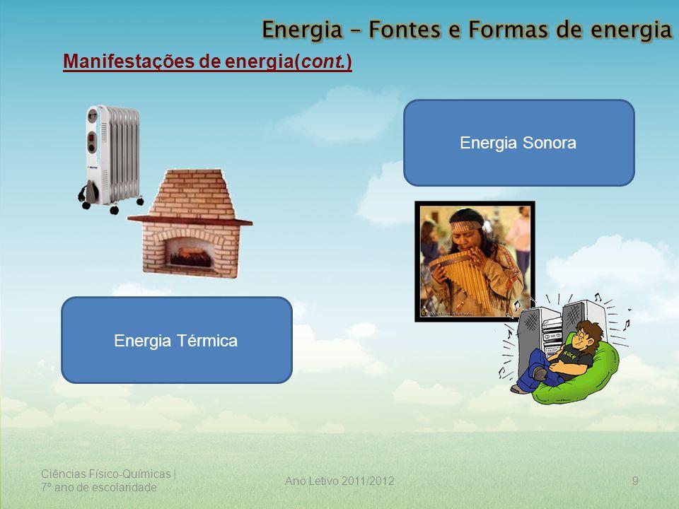 Ciências Físico-Químicas | 7º ano de escolaridade 9Ano Letivo 2011/2012 Manifestações de energia(cont.) Energia Sonora Energia Térmica