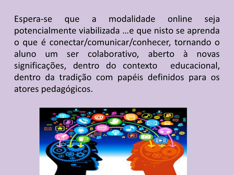 Espera-se que a modalidade online seja potencialmente viabilizada …e que nisto se aprenda o que é conectar/comunicar/conhecer, tornando o aluno um ser