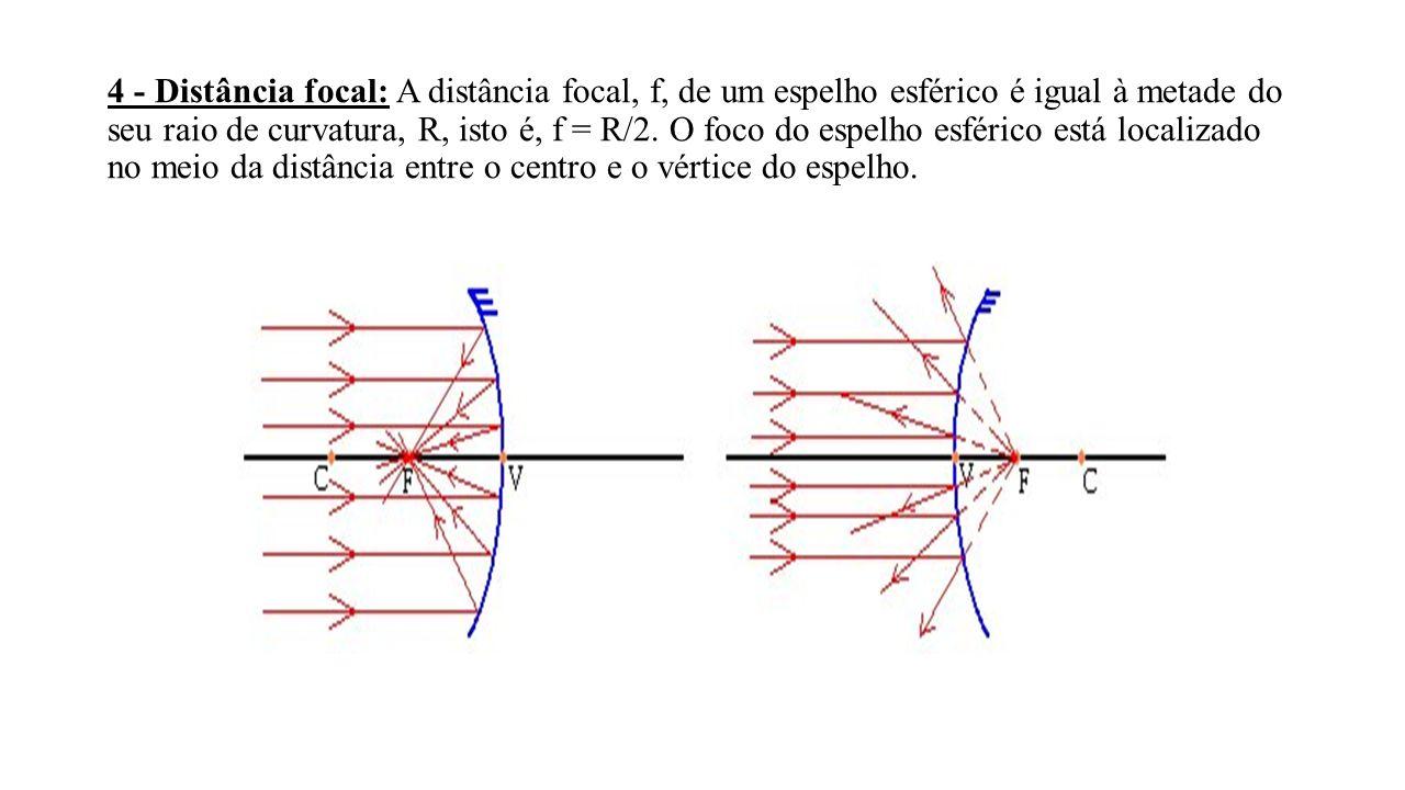 4 - Distância focal: A distância focal, f, de um espelho esférico é igual à metade do seu raio de curvatura, R, isto é, f = R/2. O foco do espelho esf
