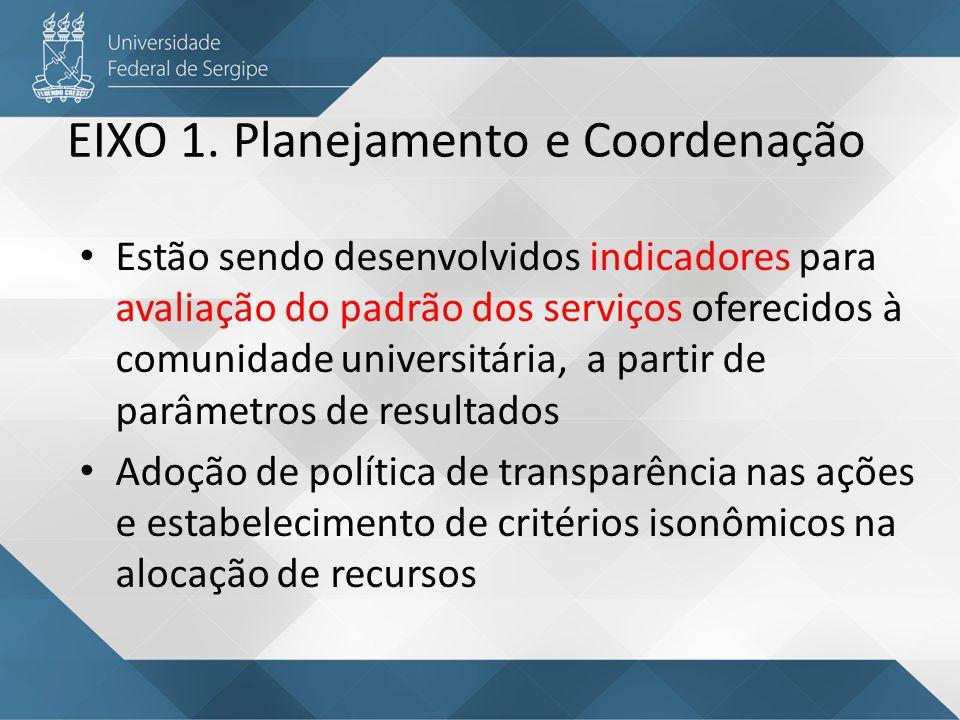 Estão sendo desenvolvidos indicadores para avaliação do padrão dos serviços oferecidos à comunidade universitária, a partir de parâmetros de resultado