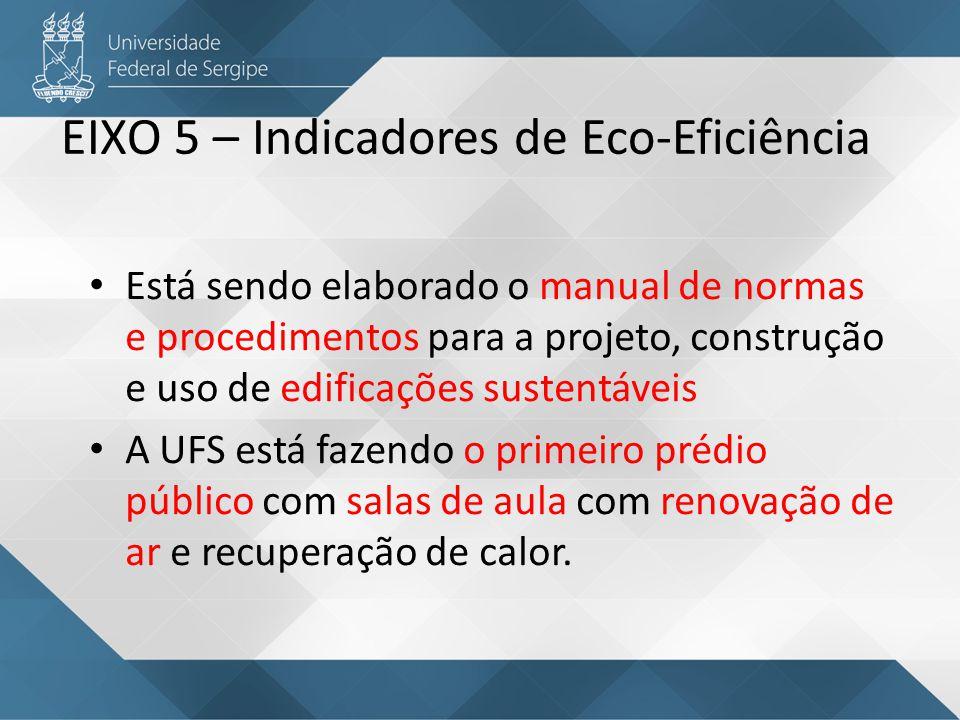 EIXO 5 – Indicadores de Eco-Eficiência A UFS atua em 4 sub eixos: 5.1 Emissão de gases – efeito estufa: programação da frota, otimização de viagens, análise de risco 5.2 Energia: Projeto da subestação de 69 kVA que tornará mais estável a energia e reduzirá consumo; estudos da demanda com redução de R$ 50 mil no custo de energia; projeto para controle de energia por telemetria; conscientização no uso de energia.