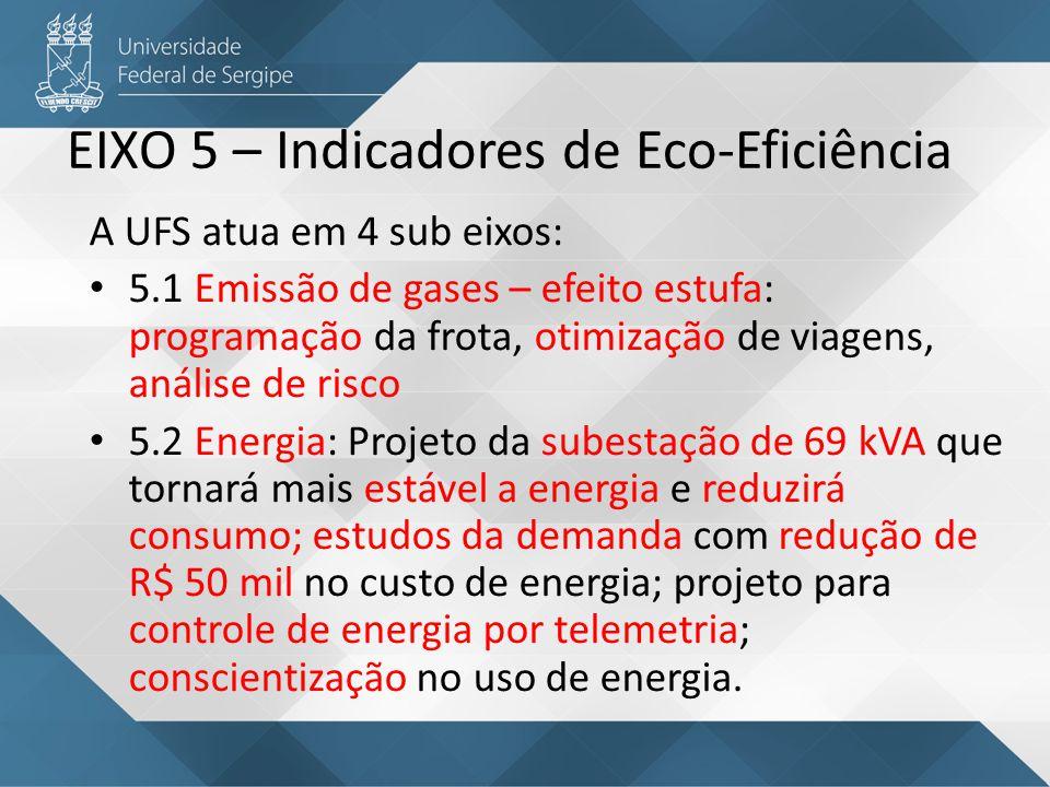 EIXO 5 – Indicadores de Eco-Eficiência 5.3 Água e Esgoto: está sendo executado o novo sistema de esgoto 5.4 Resíduos: já é realizada coleta solidária de resíduos (reciclável), a coleta e manejo de resíduos químicos e biológicos e a coleta de eletroeletrônicos.