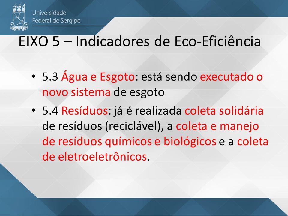 EIXO 5 – Indicadores de Eco-Eficiência 5.3 Água e Esgoto: está sendo executado o novo sistema de esgoto 5.4 Resíduos: já é realizada coleta solidária