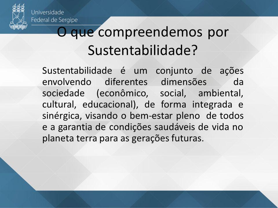 O que compreendemos por Sustentabilidade? Sustentabilidade é um conjunto de ações envolvendo diferentes dimensões da sociedade (econômico, social, amb