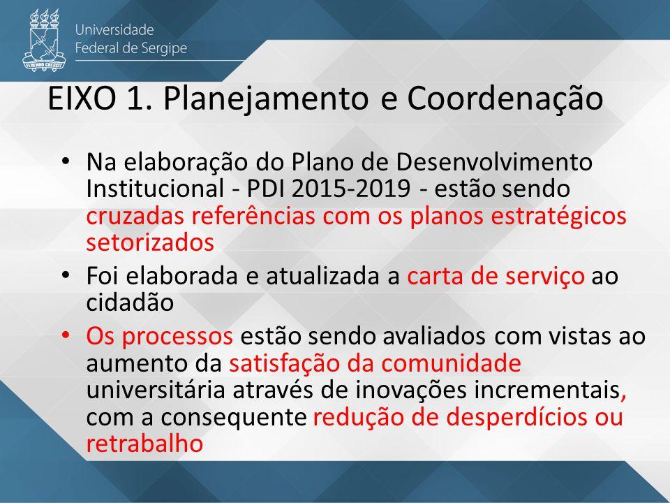 Estão sendo desenvolvidos indicadores para avaliação do padrão dos serviços oferecidos à comunidade universitária, a partir de parâmetros de resultados Adoção de política de transparência nas ações e estabelecimento de critérios isonômicos na alocação de recursos EIXO 1.