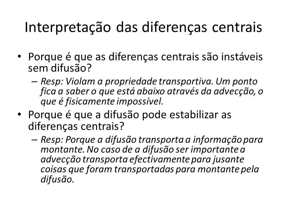Interpretação das diferenças centrais Porque é que as diferenças centrais são instáveis sem difusão? – Resp: Violam a propriedade transportiva. Um pon