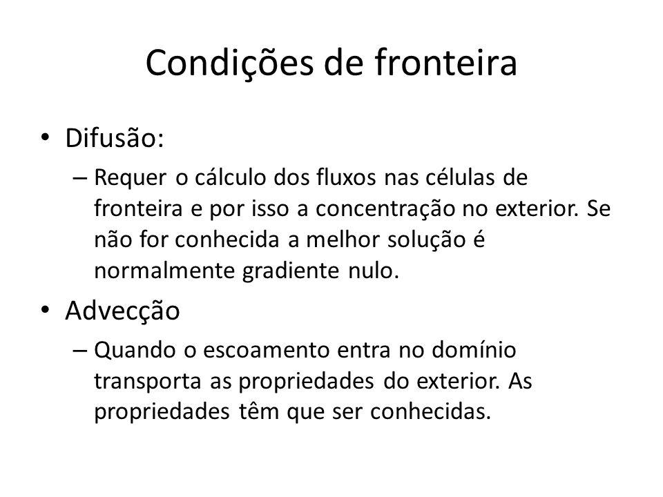 Condições de fronteira Difusão: – Requer o cálculo dos fluxos nas células de fronteira e por isso a concentração no exterior. Se não for conhecida a m