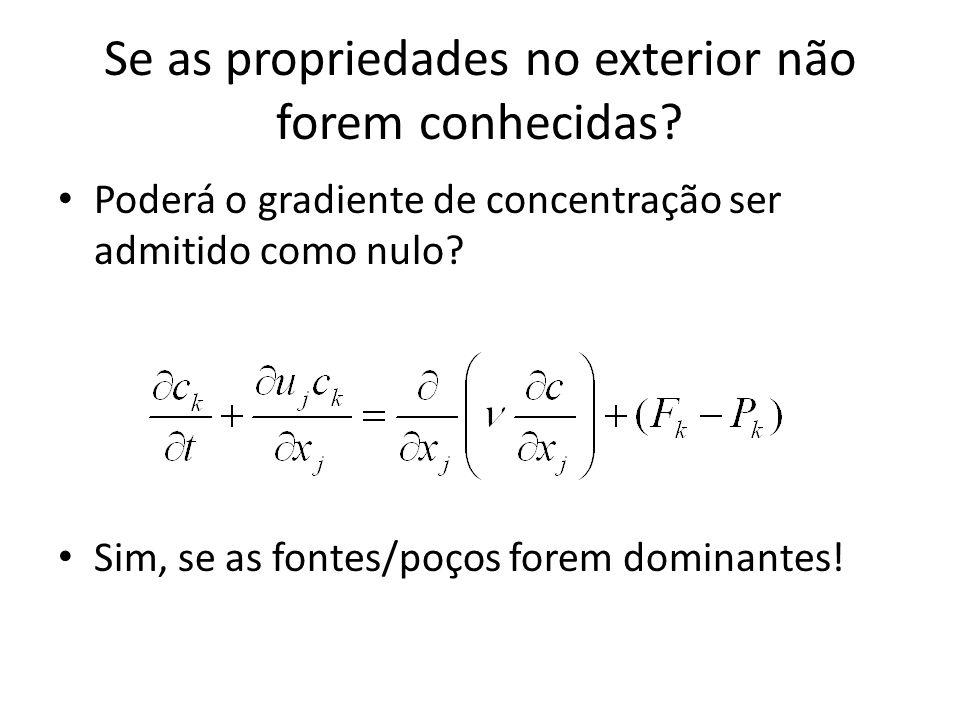 Se as propriedades no exterior não forem conhecidas? Poderá o gradiente de concentração ser admitido como nulo? Sim, se as fontes/poços forem dominant