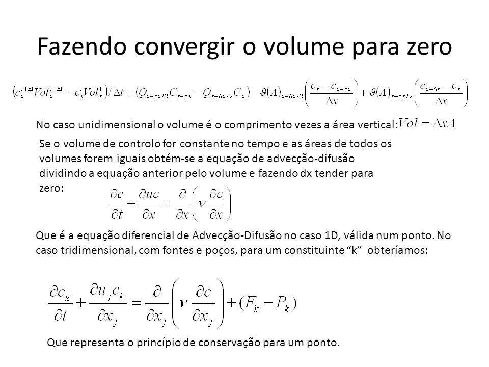 Fazendo convergir o volume para zero Que é a equação diferencial de Advecção-Difusão no caso 1D, válida num ponto. No caso tridimensional, com fontes