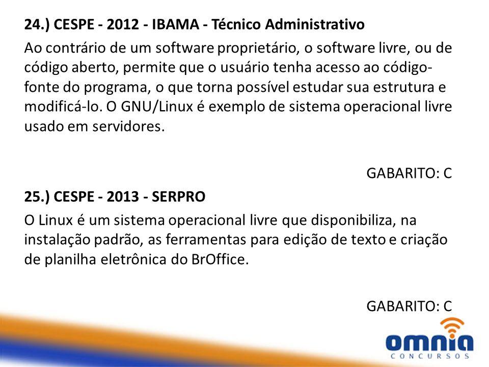 26.) CESPE - 2012 - IBAMA - Técnico Administrativo Quando se liga um computador, o sistema operacional é acionado, possibilitando inicializar e gerenciar o hardware e tornando possível sua utilização pelo usuário.