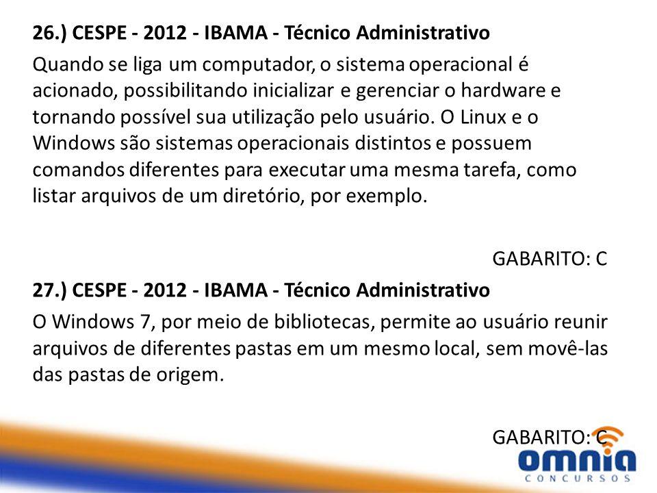 26.) CESPE - 2012 - IBAMA - Técnico Administrativo Quando se liga um computador, o sistema operacional é acionado, possibilitando inicializar e gerenc
