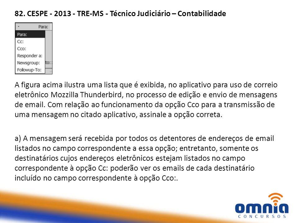 82. CESPE - 2013 - TRE-MS - Técnico Judiciário – Contabilidade A figura acima ilustra uma lista que é exibida, no aplicativo para uso de correio eletr