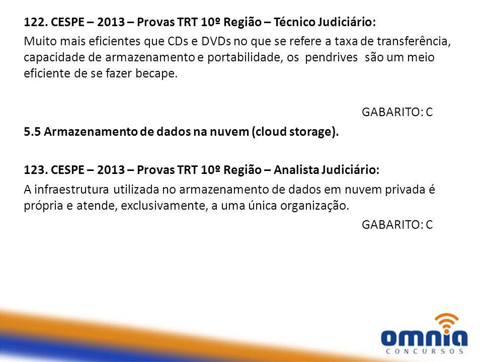 122. CESPE – 2013 – Provas TRT 10º Região – Técnico Judiciário: Muito mais eficientes que CDs e DVDs no que se refere a taxa de transferência, capacid