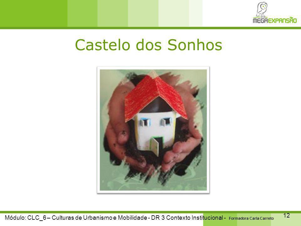 Castelo dos Sonhos 12 Módulo: CLC_6 – Culturas de Urbanismo e Mobilidade - DR 3 Contexto Institucional - Formadora Carla Carreto