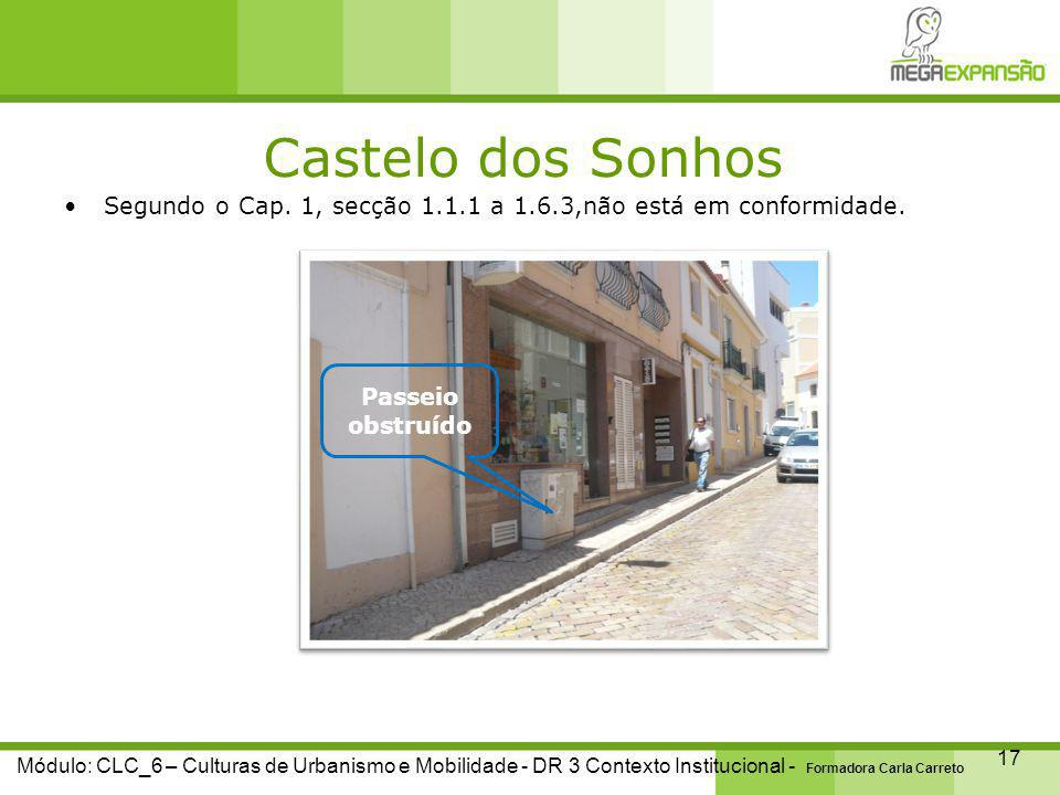 Castelo dos Sonhos 17 Módulo: CLC_6 – Culturas de Urbanismo e Mobilidade - DR 3 Contexto Institucional - Formadora Carla Carreto Segundo o Cap.