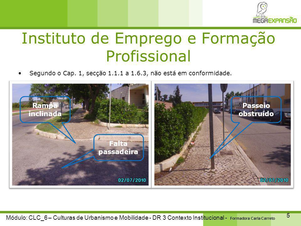 Instituto de Emprego e Formação Profissional 6 Módulo: CLC_6 – Culturas de Urbanismo e Mobilidade - DR 3 Contexto Institucional - Formadora Carla Carreto Segundo o Cap.