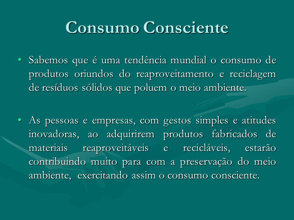 Consumo Consciente Sabemos que é uma tendência mundial o consumo de produtos oriundos do reaproveitamento e reciclagem de resíduos sólidos que poluem