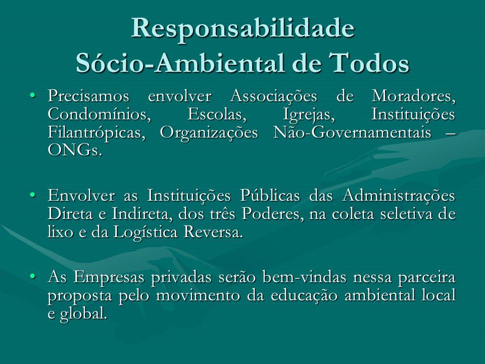 Responsabilidade Sócio-Ambiental de Todos Precisamos envolver Associações de Moradores, Condomínios, Escolas, Igrejas, Instituições Filantrópicas, Org
