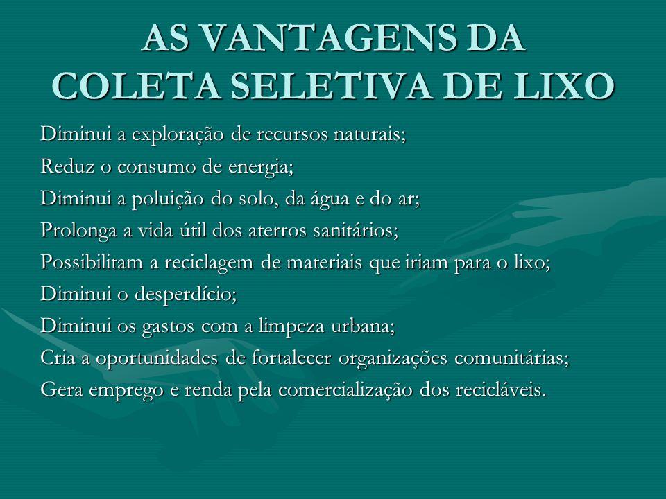 AS VANTAGENS DA COLETA SELETIVA DE LIXO Diminui a exploração de recursos naturais; Reduz o consumo de energia; Diminui a poluição do solo, da água e d