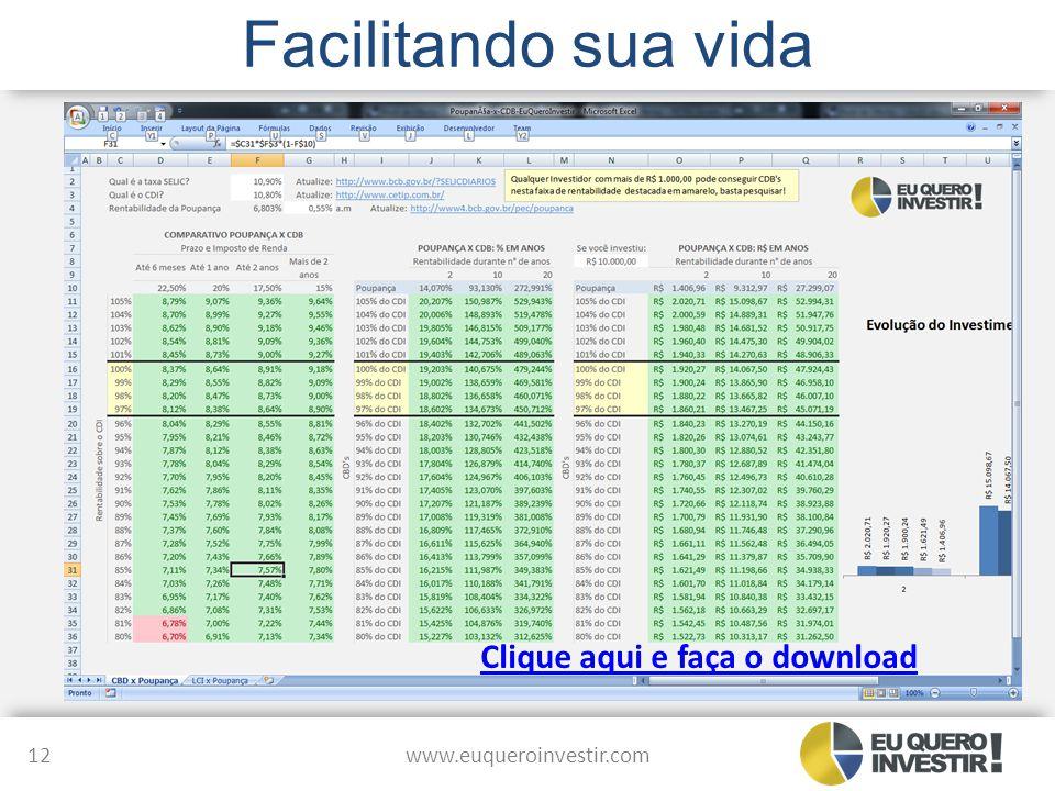 Facilitando sua vida www.euqueroinvestir.com 12 Clique aqui e faça o download
