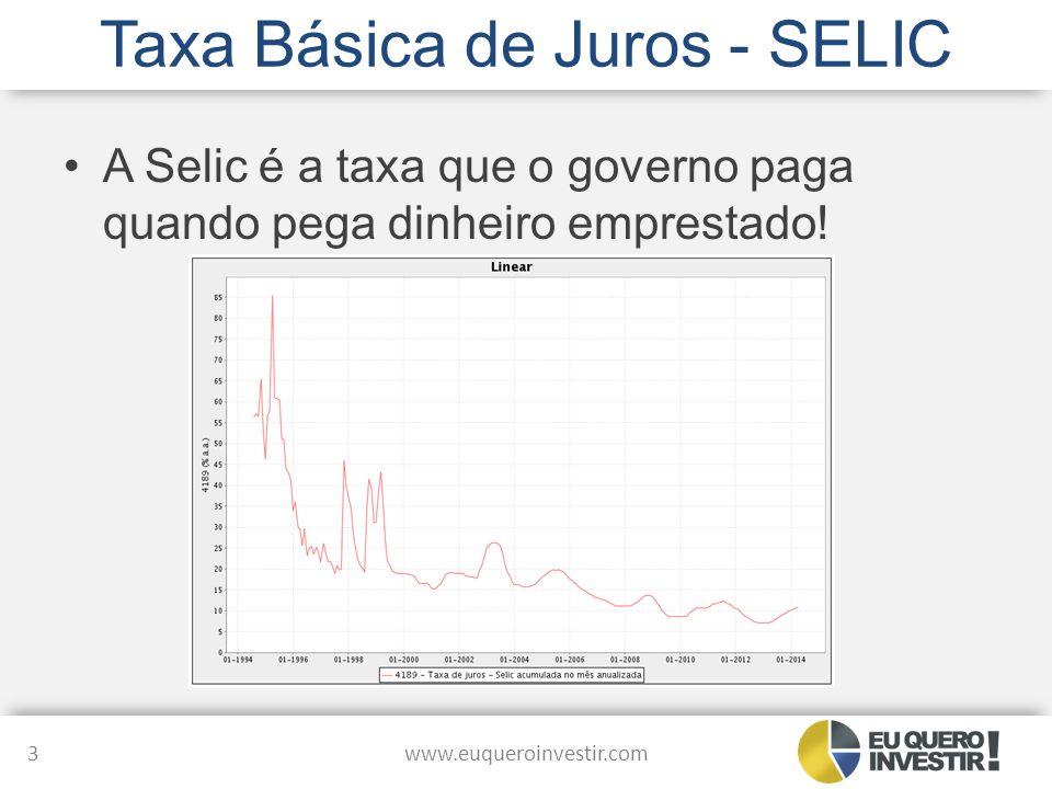 Taxa Básica de Juros - SELIC A Selic é a taxa que o governo paga quando pega dinheiro emprestado! www.euqueroinvestir.com 3