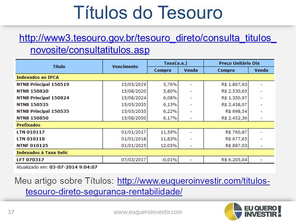 Títulos do Tesouro http://www3.tesouro.gov.br/tesouro_direto/consulta_titulos_ novosite/consultatitulos.asp www.euqueroinvestir.com 37 Meu artigo sobr